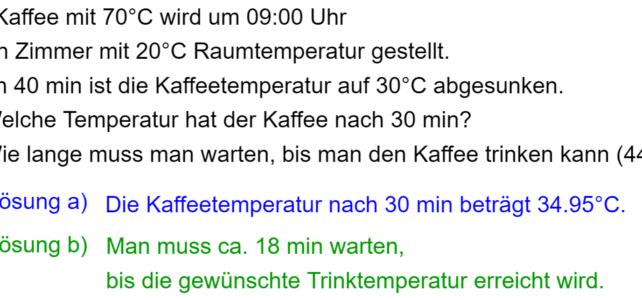 Anwendungsaufgabe zum Abkühlungsprozess (Ma 10)
