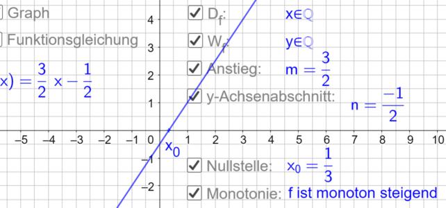 Eigenschaften linearer Funktionen (Ma 8)