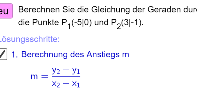 Geradengleichung aus zwei Punkten berechnen (Ma 8)